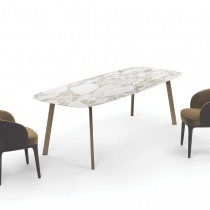 Ex-Display: Pebble Marble Dining Table, Calacatta Gold