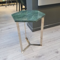 Ex-Display: Hex Side Table - Verde Guatemala Marble, Shiny Brass